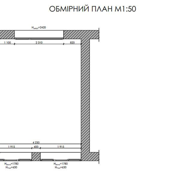 Дизайн-проект інтер'єру будинку смт Бабаї, план тераса обмірний
