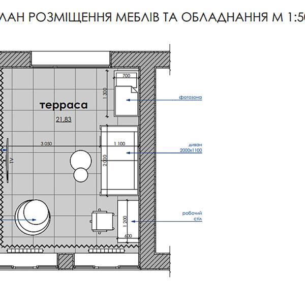 Дизайн-проект интерьера дома пгт Бабаи, план террасы с размещением мебели и оборудования