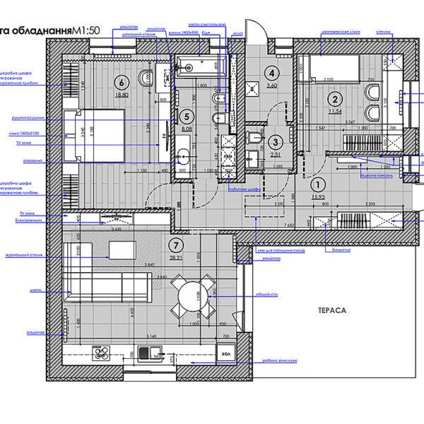 Дизайн-проект інтер'єру будинку смт Бабаї, план розміщення меблів та обладнання