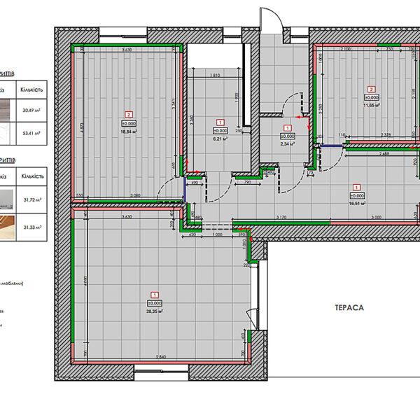 Дизайн-проект інтер'єру будинку смт Бабаї, план підлоги