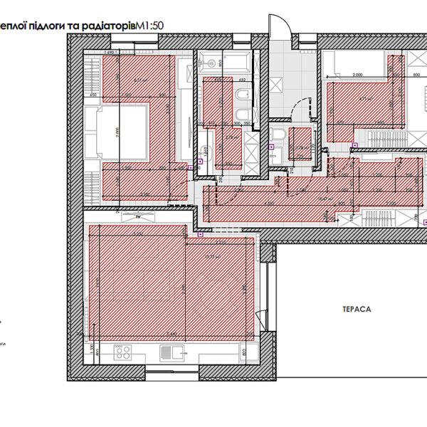 Дизайн-проект інтер'єру будинку смт Бабаї, план теплої підлоги