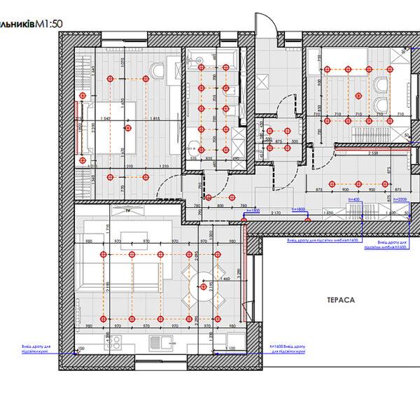 Дизайн-проект інтер'єру будинку смт Бабаї, план розміщення світильників