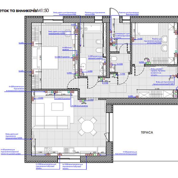 Дизайн-проект интерьера дома пгт Бабаи, план розеток и выключателей
