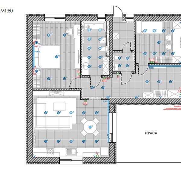 Дизайн-проект интерьера дома пгт Бабаи, план групп освещения