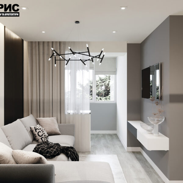 """Дизайн-проект двокімнатної квартири ЖК """"Дует"""", вітальня вид справа"""