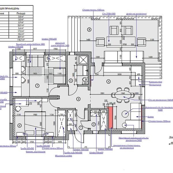 Дизайн-проект приватного будинку, план розміщення меблів та обладнання