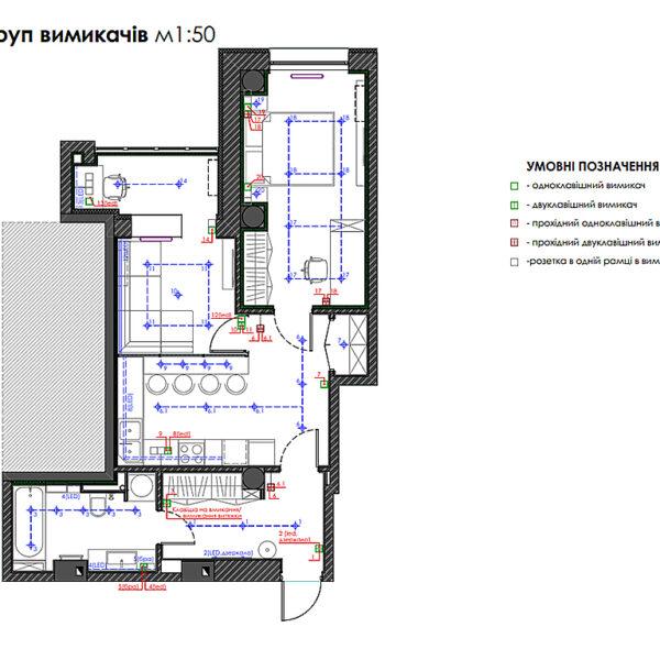 """Дизайн-проект двокімнатної квартири ЖК """"Дует"""", план груп вимикачів"""