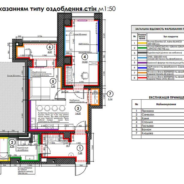 """Дизайн-проект двокімнатної квартири ЖК """"Дует"""", план оздоблення стін"""