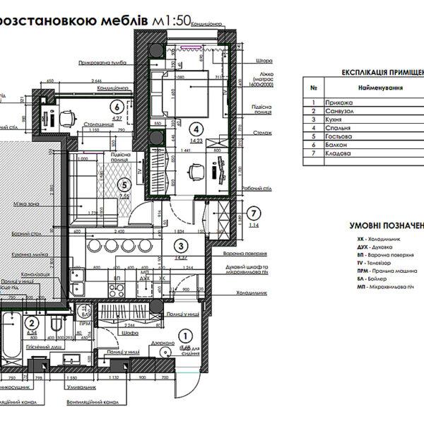 """Дизайн-проект двухкомнатной квартиры ЖК """"Дуэт"""", план размещения мебели и оборудования"""