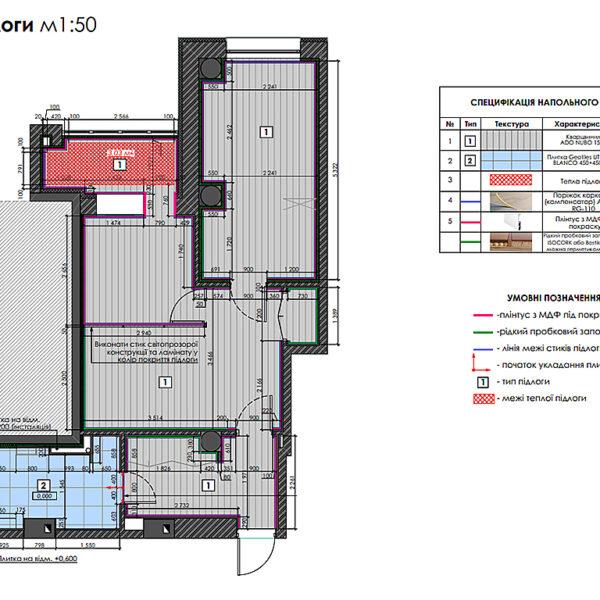 "Дизайн-проект двокімнатної квартири ЖК ""Дует"", план підлоги"
