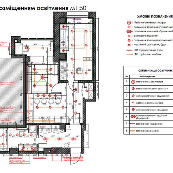 """Дизайн-проект двухкомнатной квартиры ЖК """"Дуэт"""", план размещения освещения"""