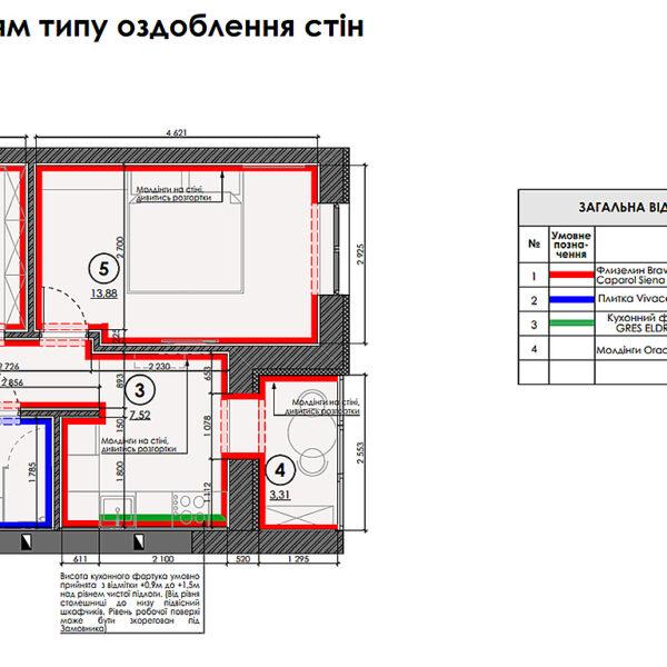 "Дизайн интерьера квартиры ЖК ""Гидропарк"", план отделки стен"
