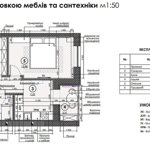"""Дизайн интерьера квартиры ЖК """"Гидропарк"""", план мебели и сантехники"""