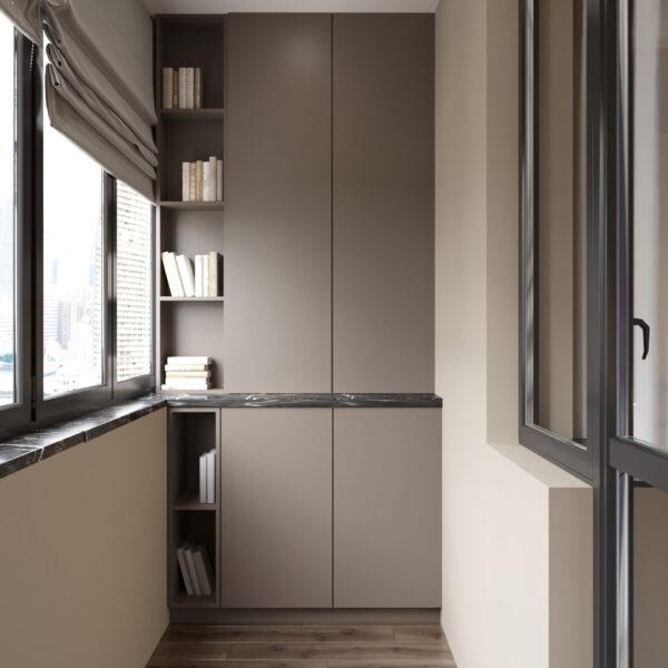 """Дизайн-проект однокомнатной квартиры ЖК """"Инфинити"""", балкон вид справа"""