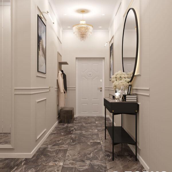 """Дизайн-проект однокомнатной квартиры ЖК """"Инфинити"""", коридор вид спереди"""