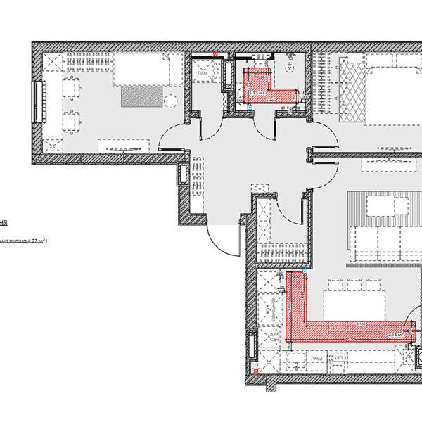 """Дизайн-проект інтер'єра квартири у ЖК """"Сінергія Сіті"""", план теплої підлоги"""