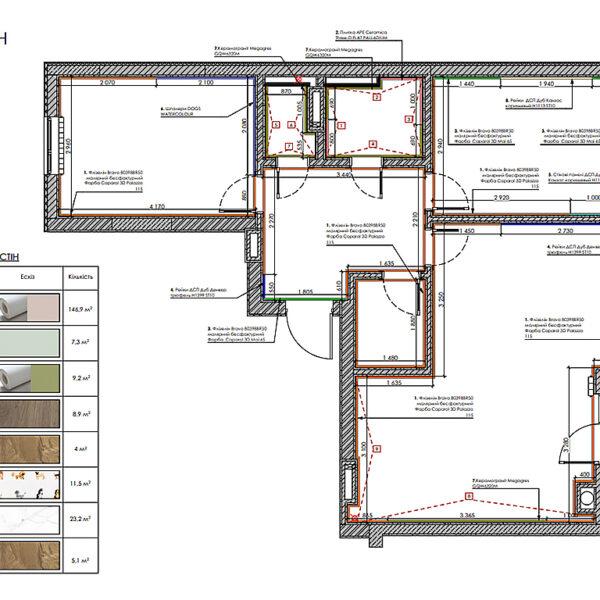 """Дизайн-проект інтер'єра квартири у ЖК """"Сінергія Сіті"""", план оздлблення стін"""