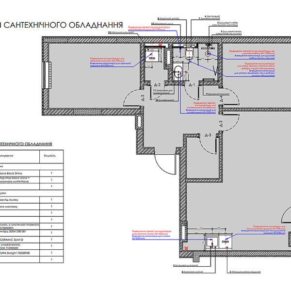 """Дизайн-проект інтер'єра квартири у ЖК """"Сінергія Сіті"""", план сантехнічного обладнання"""