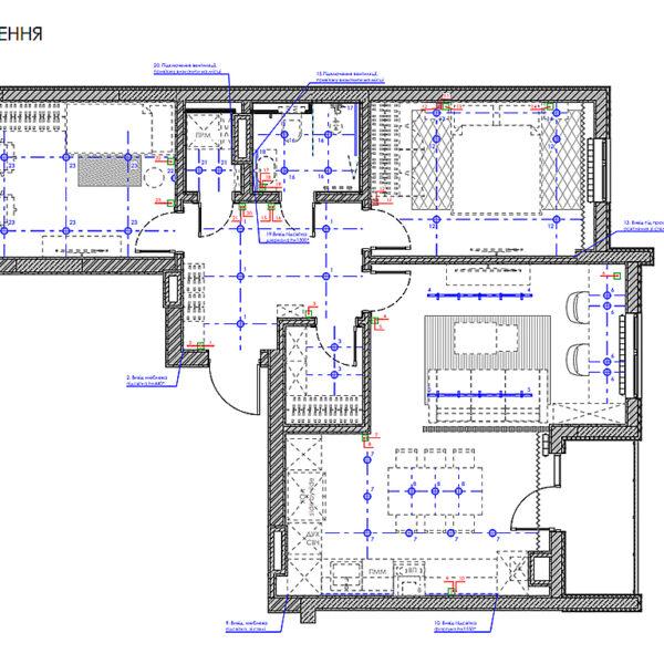 """Дизайн-проект інтер'єра квартири у ЖК """"Сінергія Сіті"""", план груп освітлення"""