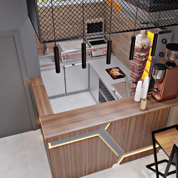 Дизайн-проект фастфуду, кухня вид згори