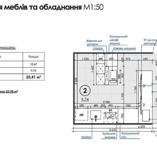 Дизайн-проект інтер'єру кав'ярні, план фоторозміщення меблів і техніки