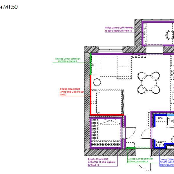 """Дизайн-проект інтер'єру квартири-студії ЖК """"Лазурний"""", план обробки стін"""