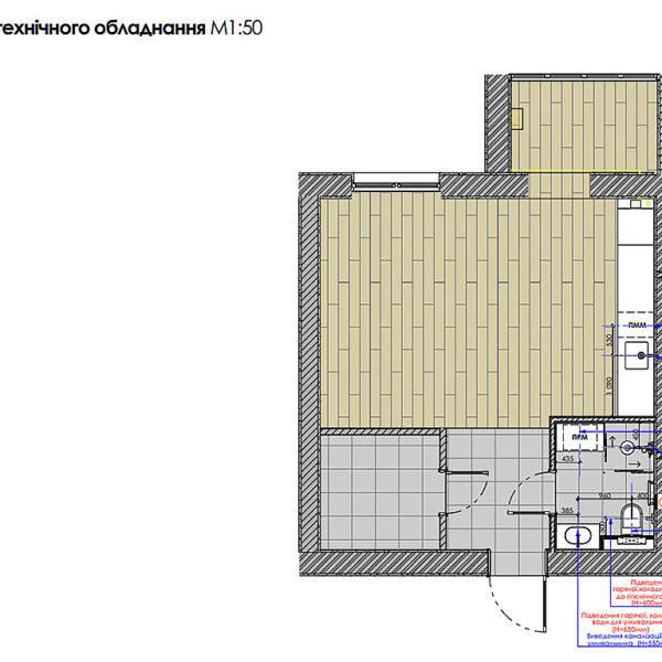 """Дизайн-проект інтер'єру квартири-студії ЖК """"Лазурний"""", план прив'язки сантехнічного обладнання"""