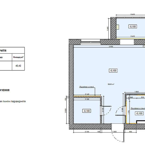 """Дизайн-проект інтер'єру квартири-студії ЖК """"Лазурний"""", план стелі"""