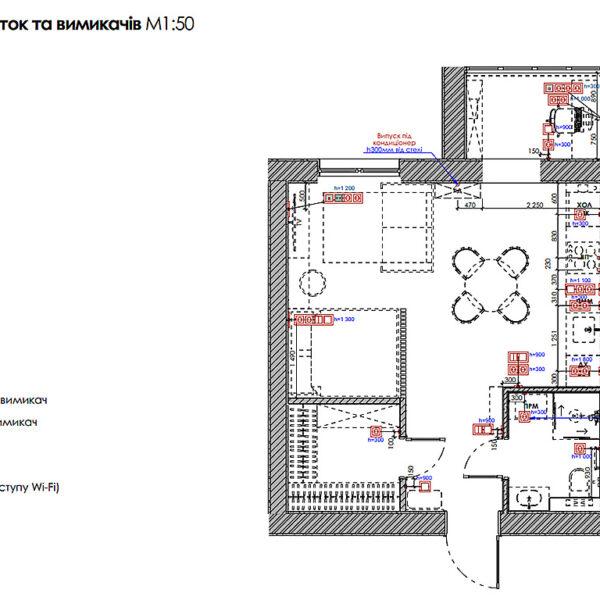 """Дизайн-проект интерьера квартиры-студии ЖК """"Лазурный"""", план розеток и выключателей"""