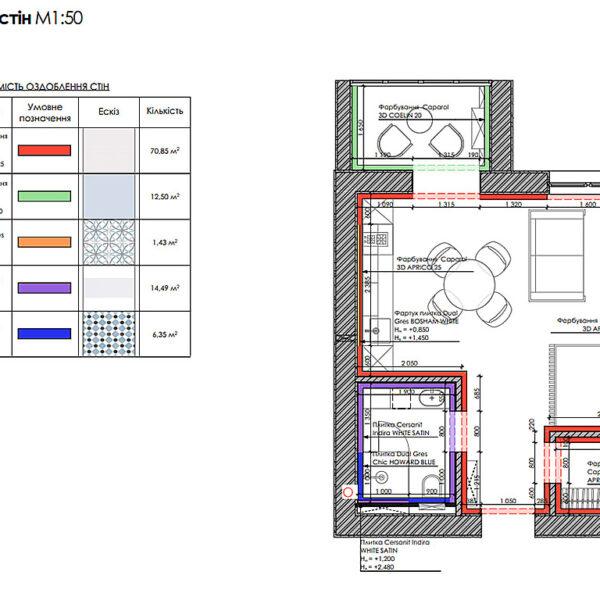 """Дизайн-проект интерьера квартиры ЖК """"Лазурный"""", план отделки стен"""