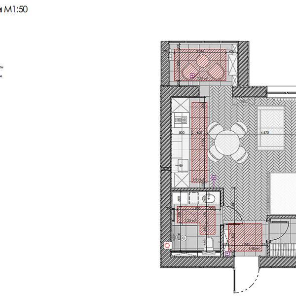 """Дизайн-проект інтер'єру квартири ЖК """"Лазурний"""", план теплої підлоги"""