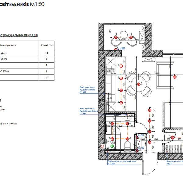 """Дизайн-проект інтер'єру квартири ЖК """"Лазурний"""", план розміщення світильників"""