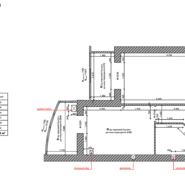 """Дизайн-проект інтер'єру однокімнатної квартири ЖК """"Лазурний"""", план обмірний"""