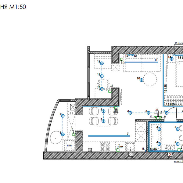 """Дизайн-проект інтер'єру однокімнатної квартири ЖК """"Лазурний"""", план груп освітлення"""