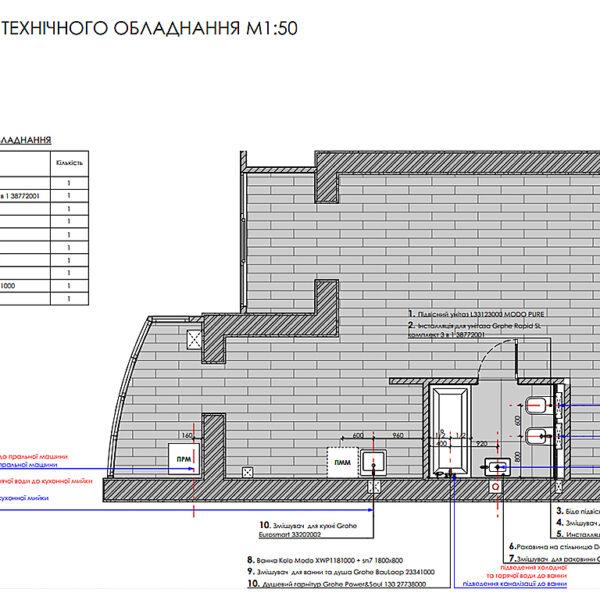 """Дизайн-проект інтер'єру однокімнатної квартири ЖК """"Лазурний"""", план сантехнічного обладнання"""
