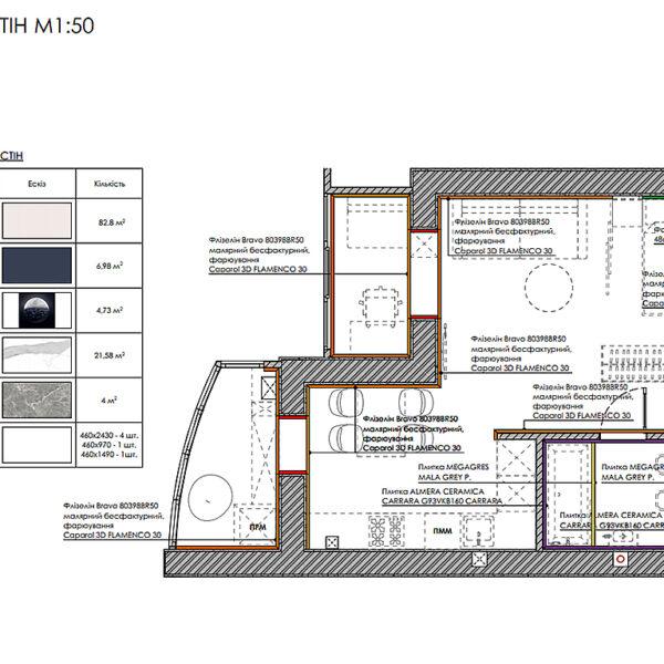 """Дизайн-проект інтер'єру однокімнатної квартири ЖК """"Лазурний"""", план оздоблення стін"""