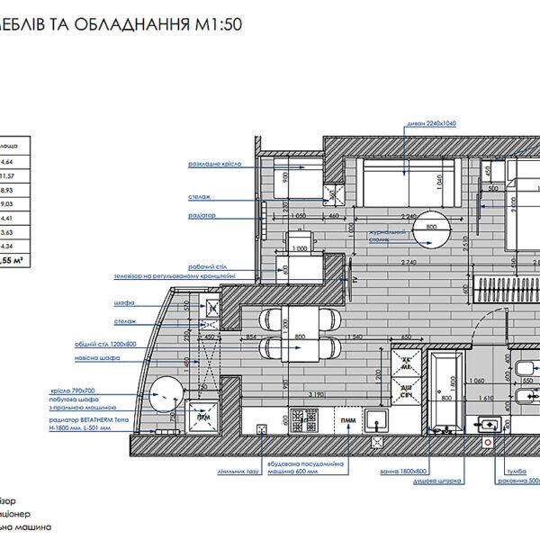 """Дизайн-проект інтер'єру однокімнатної квартири ЖК """"Лазурний"""", план розміщення меблів та обладнання"""