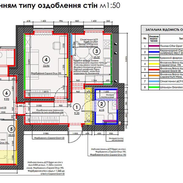 """Дизайн-проект интерьера квартиры ЖК """"Левада"""", план отделки стен"""
