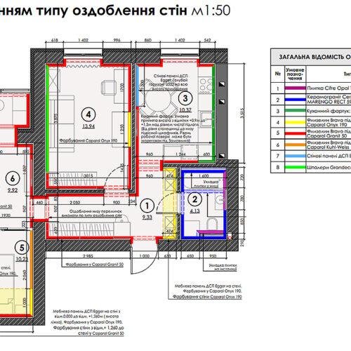 """Дизайн-проект інтер'єру квартири ЖК """"Левада"""", план оздоблення стін"""