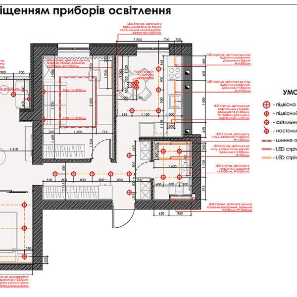 """Дизайн-проект интерьера квартиры ЖК """"Левада"""", план приборов освещения"""