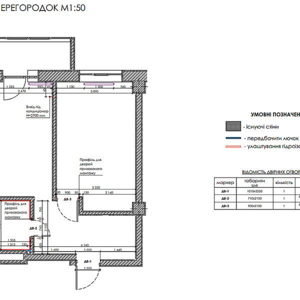 Дизайн-проект інтер'єру квартири у ЖК «Мерідіан», план монтажу перегородок