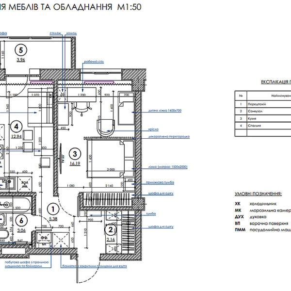 Дизайн-проект интерьера квартиры в ЖК «Меридиан», план размещения мебели и техники