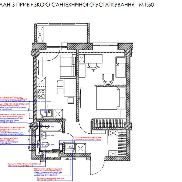 Дизайн-проект інтер'єру квартири у ЖК «Мерідіан», план сантехнічного устаткування