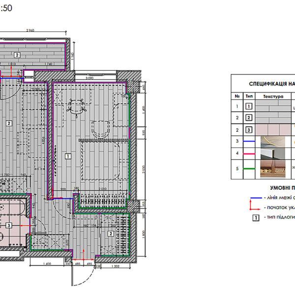 Дизайн-проект інтер'єру квартири у ЖК «Мерідіан», план підлоги
