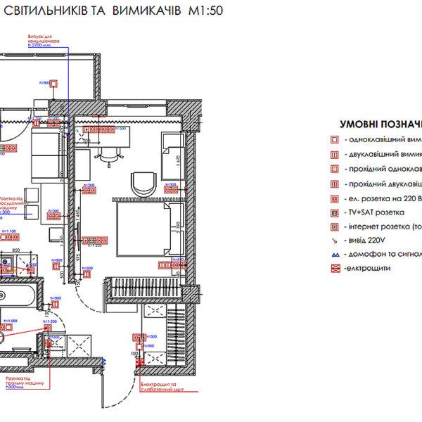 Дизайн-проект інтер'єру квартири у ЖК «Мерідіан», план розміщення розеток і вимикачів