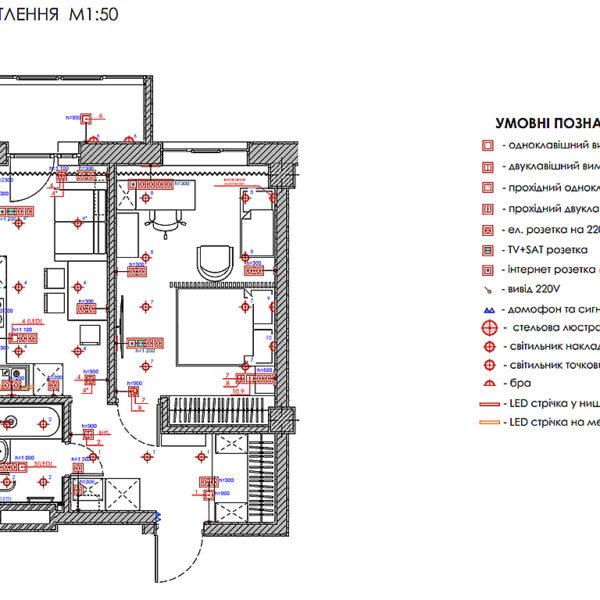 Дизайн-проект интерьера квартиры в ЖК «Меридиан», план групп освещения