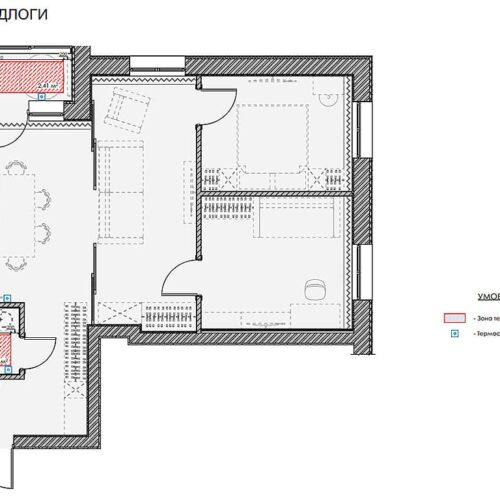 """Дизайн інтер'єру квартири ЖК """"Миру"""", план теплої підлоги"""