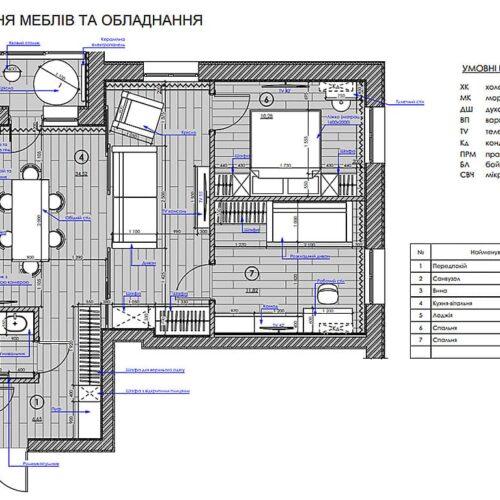 """Дизайн інтер'єру квартири ЖК """"Миру"""", план розміщення меблів і обладнання"""