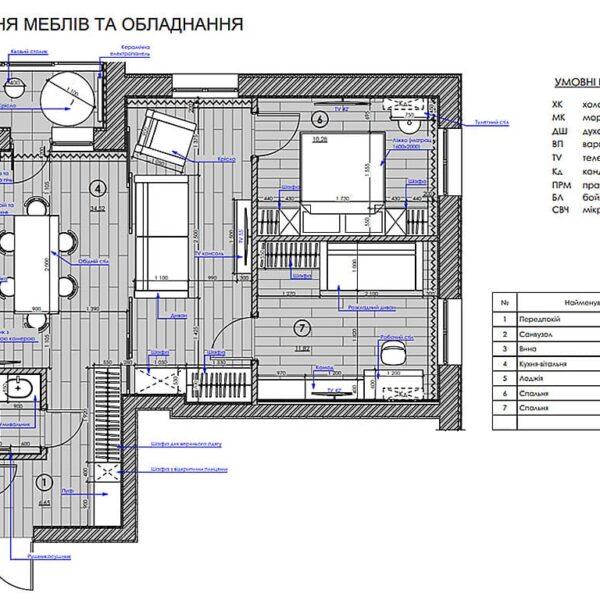 """Дизайн интерьера квартиры ЖК """"Мира"""", план размещения мебели и техники"""