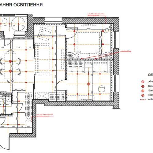 """Дизайн інтер'єру квартири ЖК """"Миру"""", план розташування освітлення"""